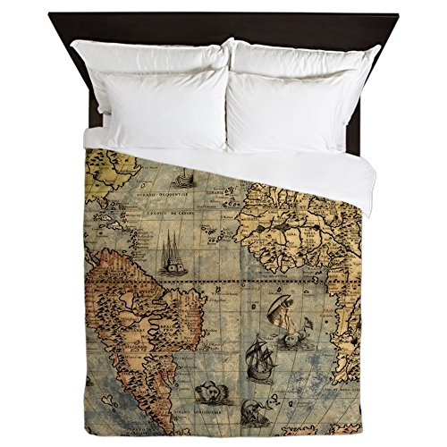 Map comforter amazon cafepress world map vintage atlas historical queen duvet cover printed comforter cover unique bedding luxe gumiabroncs Gallery