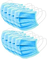 WAVE Blue Disposable Face Masks | Indoor/Outdoor Protective Nose & Mouth Coverings with 3-Layer Safety Shi