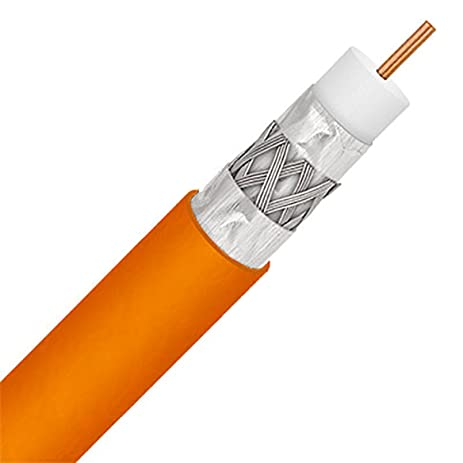 BULK COAXIAL TELECOMMUNICATION VIDEO / AUDIO CABLE (RG6 TRISHIELD DIRECT BURIAL UNDERGROUND 400ft ORANGE)