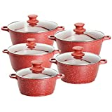 Ceramic Casserole Set Nonstick Marble Coating Dishwasher Safe Scratch Resistant PFOA Free Ceramic Cookware Set Pack - 10 - Red