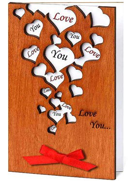 Handmade Wooden Love You Many Hearts Real Wood Romantic Card Best Amazing Valentine s Day Present for Your Loved One Husband Wife Partner Boyfriend or Girlfriend