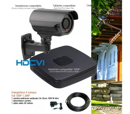 Kit de vid/éo Surveillance HDCVI avec cam/éra ext/érieure varifocale Aucun Disque Dur Kit-547-1X2430 DAHUA