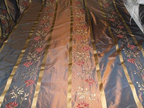 silk taffeta iridescent golden bronze x blue iridescent satin stripe embroidery Hobbies,Home decor,Sewing,Fashion,Doll Dress,Furnishing,Interior.