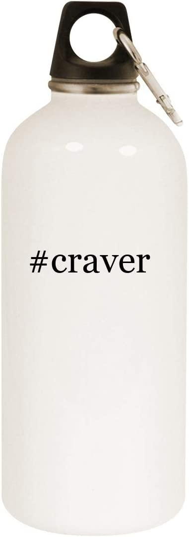 #craver - 20oz Hashtag Stainless Steel White Water Bottle with Carabiner, White
