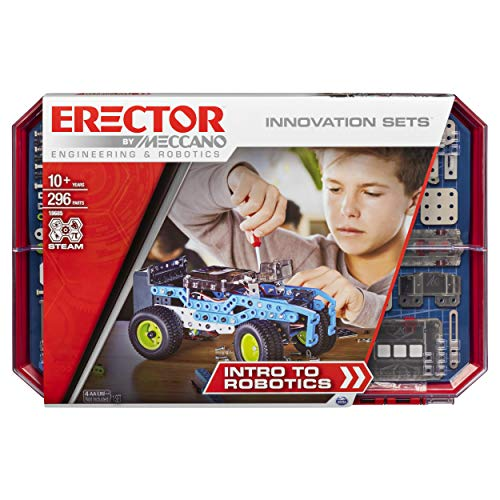 MECCANO Erector, Intro to Robotics Innovation Set, S.T.E.A.M. Building Kit with Sensors and Real Motor from MECCANO
