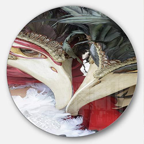 Designart mt14220°C38Carnaval en venecia en Italia flores arte de la pared de círculos Disco, 38' x 38', rojo