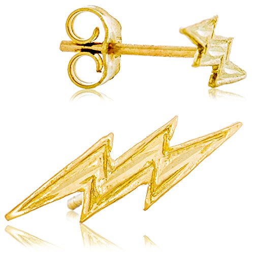 Solid 14K Yellow Gold Lightning Bolt Earrings | Fun, Edgy Design for Men and Women | 13.4mm wide x 4.3 tall | 0.7g