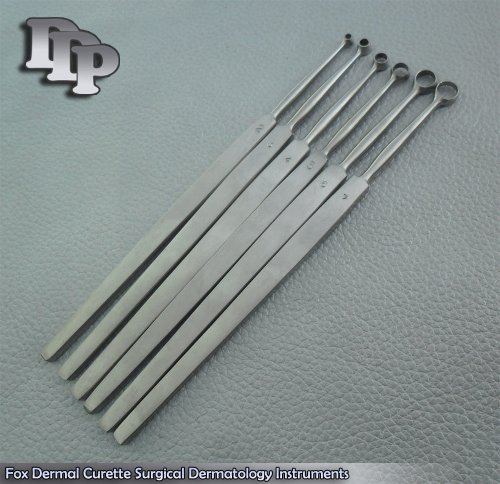 Set Of 6 Pcs Fox Dermal Curette Surgical Dermatology Surgical DDP Instruments
