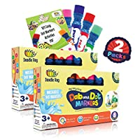 Washable 8 Colors Dot Markers Pack Set. Fun Art Supplies for Kids, Toddlers and Preschoolers. Non Toxic Arts and Crafts Supplies. Includes 200 Plus Fun Downloadable Coloring PDF Sheets (2 Packs)