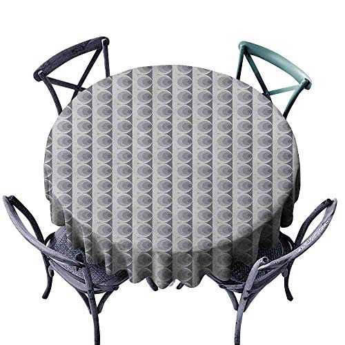 Mannwarehouse Geometric Dustproof Tablecloth Grayscale Illustration of Circles and Stripes Abstract Oval Design Indoor Outdoor Camping Picnic D63 Grey Pale Grey Black