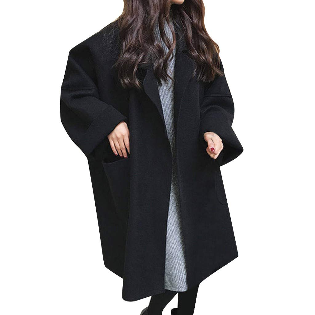 Wenini Womens Oversize Coat Long Sleeve Loose Long Casual Knitted Cardigan Pockets Outwear Trench Coat with Big Pocket by Wenini Women Coat