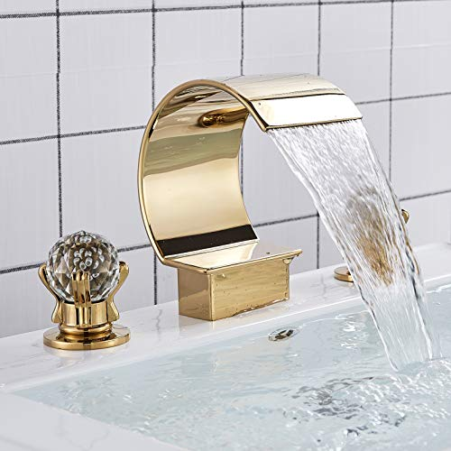Rozin Bathroom Waterfall Spout Basin Faucet 2 Crystal Deco Knobs Tub Filler Tap Gold Polished