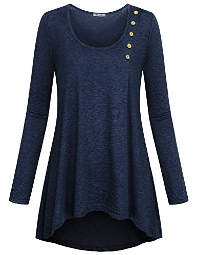 SeSe Code Lightweight Tunic Tops for Women Laides Dressy Blouses Maternity Popover Medieval Clothing Contemporary Relaxed Fit Slimming Pullover Shirt for Leggings Royal Blue L -