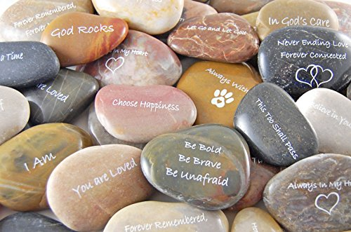 Engraved Inspirational Word Stones - Set of 20