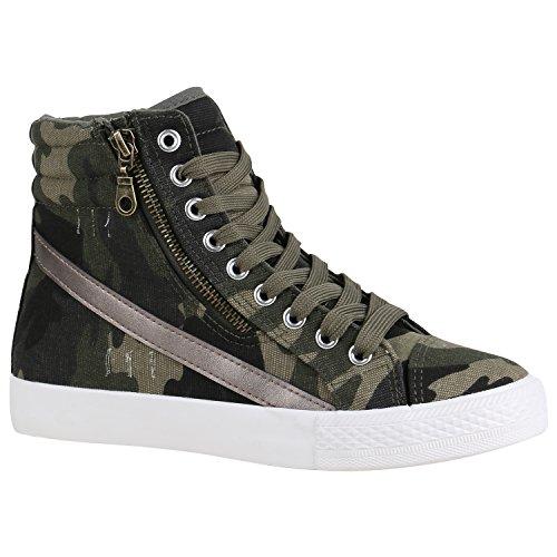 new concept 9dca7 20289 Stiefelparadies Unisex Damen Herren Sneaker high Übergrößen Flandell  Camouflage Zipper