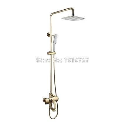 HYY@ Bathroom Shower Set Faucet Shower Mixer Rainfall Golden Brass ...