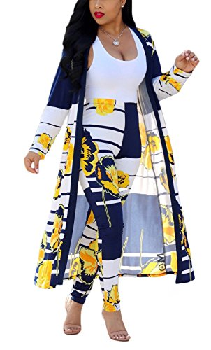 (Playworld Womens 2 Piece Outfits Open Front Cardigan Stripe and Floral Cover up with Leggings)