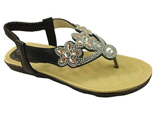 Sommer Diamante Mode Flop Peep Toe PU 3 Post Slingback Riemchen 8 Flip Schuhgröße Gladiator Damen Sandale Chix 7404 Schwarz HxYqwv5gMP