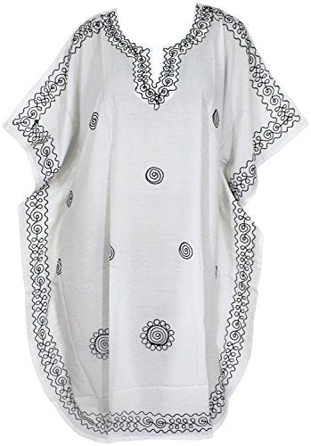 La Leela dames lisse rayonne brodé tunique top soirée décontractée robe assouplis vinaigrette ajustement robe maillots bain taille couvrent jusqu'à loungewear beachwear short maternité kaftan blanc