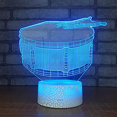 Bella House Lovely Visual Drum 3D Remote Control Optical Illusion Night Light Crackle Paint Base Table Desk Lamps 7 Colors Change Glow LED Art Sculpture Beside Lights Toy Gift Acrylic Flat: Home & Kitchen