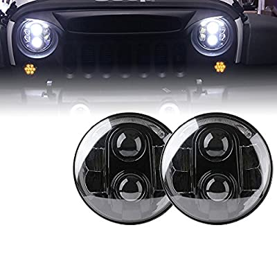 """Xprite 7"""" Inch LED Headlights Hi/Lo Beam with Halo Ring Angel Eyes Crystal DRL For Jeep Wrangler JK Unlimited TJ LJ 1997-2018 (DOT Approved), Cree XT-E Chip,120W 10400 Lumens"""