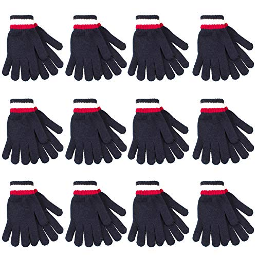 Gelante 6-12 Pairs Adult Winter Knitted Magic Stretch Gloves (12 Pairs: Navy)