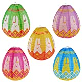 "BESTOMZ Paper Lanterns Hanging Decorations Egg Shaped-- 10.5"" Tall, Pack of 5 (Toy)"