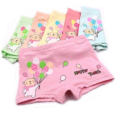 Shorty Boyshorts Panty (3-10 Years Girls Organic Cotton Boyshort Panties Colorful Balloon Underwear 5 Pack)