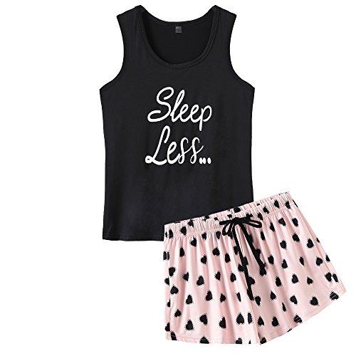 VENTELAN Pajamas Women Summer Sleep Vest Cute Heart Sleepwear Soft Cool PJ Set Black ()