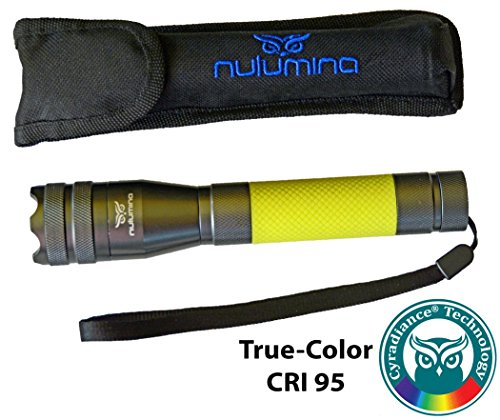 - Nulumina CYRAD CM1 Focusable Broad-Spectra Waterproof Flashlight with Cyradiance True-Color Revealing LED and Rare-Earth Glowing Handle for Hiking, Tracking, Photography, and All Outdoors