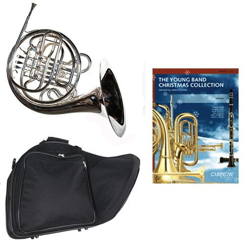 Band Directors Choice Silver Plated Double French Horn Key of F/Bb - Young Band Christmas Collection Pack; Includes Intermediate French Horn, Case, Accessories & Young Band Christmas Collection Book by Double French Horn Packs