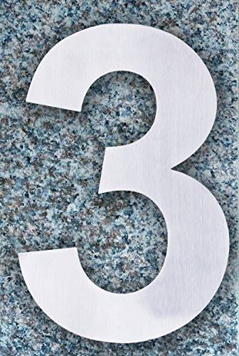 QT Modern House Number - SMALL 4 Inch - Brushed Stainless Steel (Number 3 Three), Floating Appearance, Easy to install and made of solid 304 by QT Home Decor (Image #1)