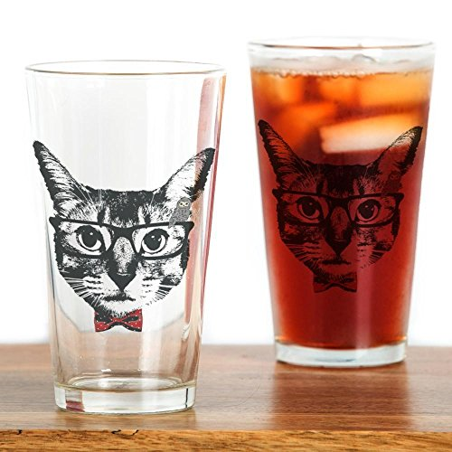 CafePress - Cat with glasses Drinking