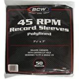 """(50) BCW Brand 7"""" Polylined White Paper & Plastic Record Inner Sleeves"""