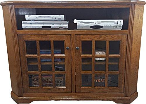 - American Heartland Oak Tall Curve Corner TV Stand in Classic Bourbon