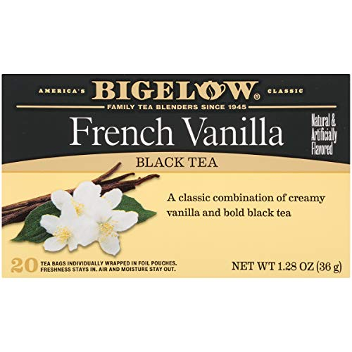 - Bigelow French Vanilla Tea 20 Bags (Pack of 6) Caffeinated Individual Black Tea Bags, for Hot Tea or Iced Tea, Drink Plain or Sweetened with Honey or Sugar