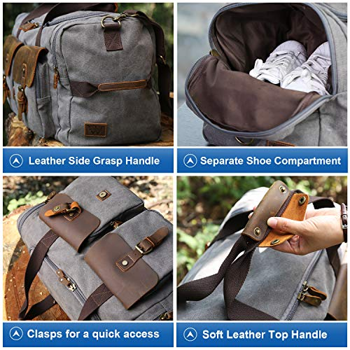 WOWBOX Duffle Bag Weekender Bag for Men Genuine Leather Canvas Travel Overnight Carry on Bag with Shoes Compartment