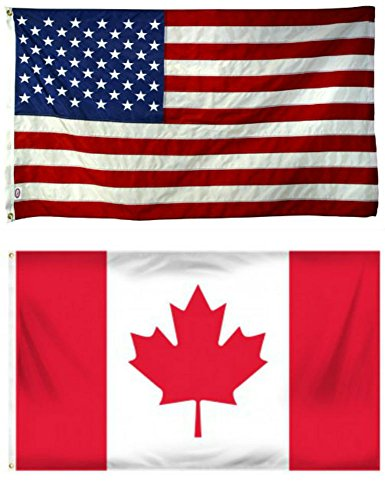 - 2'x3' Wholesale Combo USA American & Canada Canadian Super Polyester Nylon Flags 2X3 ft (60 X 90 CM) House Banner Grommets Double Stitched Fade Resistant Premium Quality