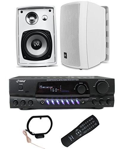 2) VM Audio SR-WOD4 Outdoor Speakers + Pyle Pro PT260A 200W Home Amplifier