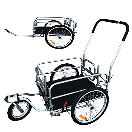 2 in 1 20″ Wheels Cargo Utility Stroller and Bicycle Bike Trailer Beach Cart Silver Chrome