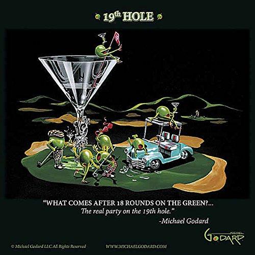 (19th Hole Michael Godard Sport Golf Cocktail Humor Funny Fantasy Print Poster 12x12)