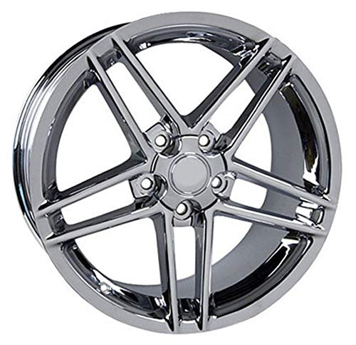 Partsynergy Replacement For Chrome Wheel Rim 18 Inch Fits 1994-2004 Chevrolet Corvette (Front) 5-120.65mm 5 Double Spokes Chrome 18x9.5