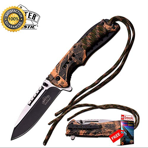 SPRING ASSISTED FOLDING Sharp KNIFE Forest Camo Paracord