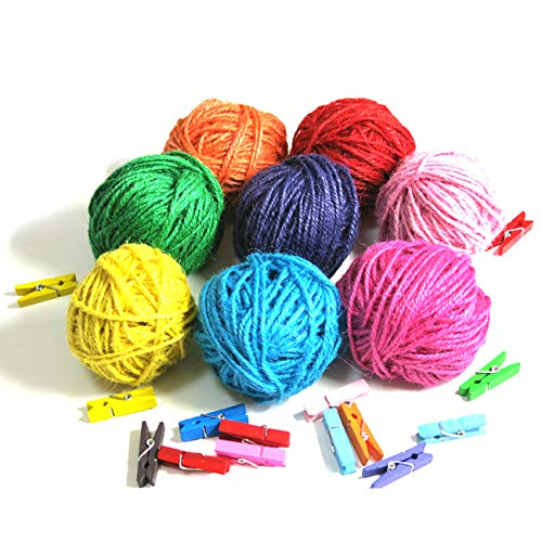 FINCOS 8 Color Waxed and Dyed Hemp Cord (8pcs/lot) Hemp Rope,1.5MM Twine 22m/Ball Used in All Kinds Packing by