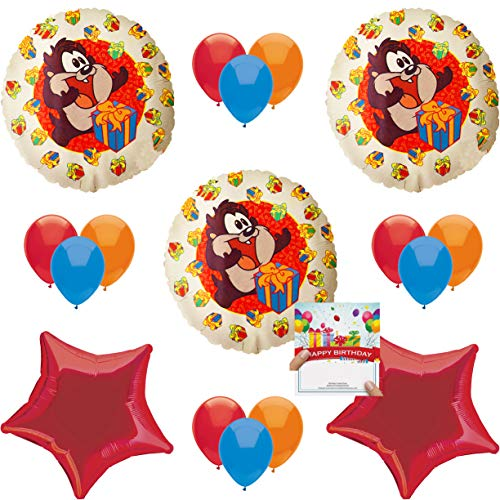 Looney Tunes Party Supplies Taz Birthday Balloon Decoration Bundle