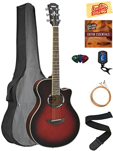 Yamaha APX500 Thinline Cutaway Acoustic-Electric Guitar – Dusk Sun Red Bundle with Gig Bag, Tuner, Strings, Austin Bazaar Instructional DVD, Picks, and Austin Bazaar Polishing Cloth