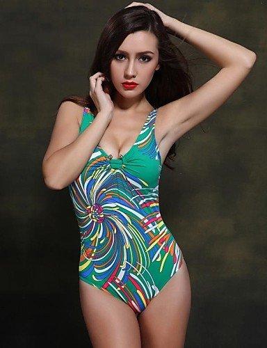 skt-swimwear Damen Straped one-pieces, Floral Push-Up/Nylon/Spandex Gepolsterte BHs Blau/Grün
