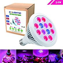 RoLightic LED Plant Grow Light for Hydroponic Garden and Greenhouse,Flowers,Fruits, 24W, E26/E27 Socket, 3 Bands