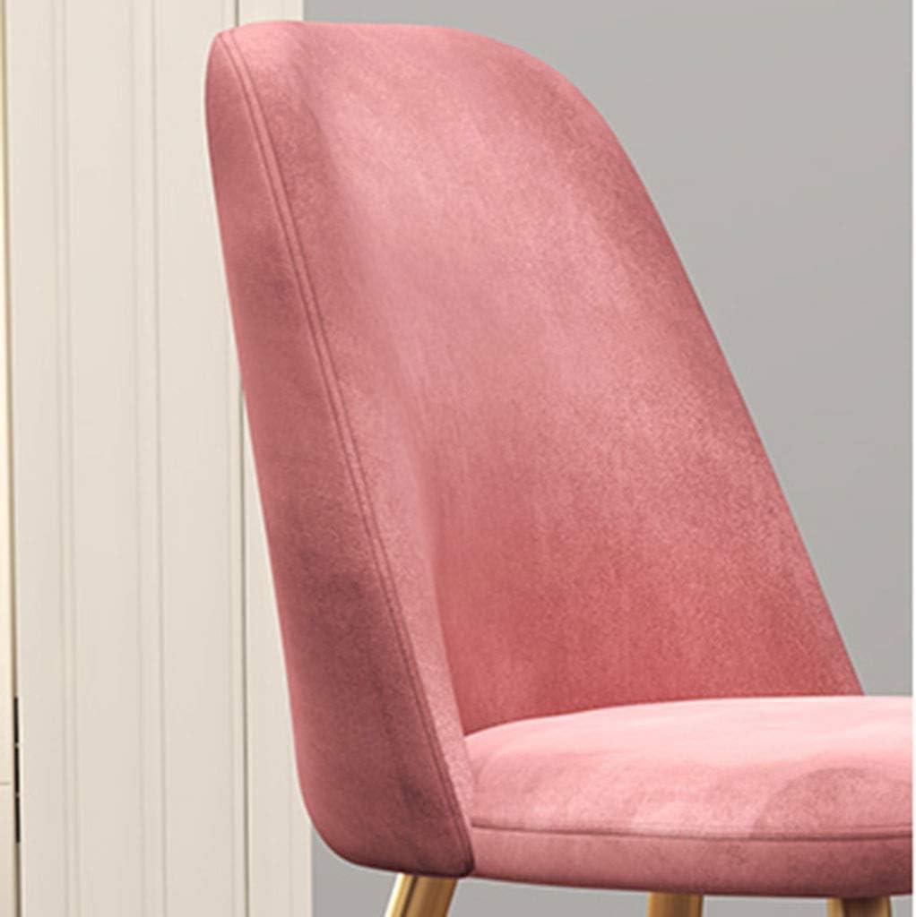 ZCXBHD El Conjunto de 6 Sillas Comedor Sillas encimera Cocina de época Sillas Salón Ocio Esquina con Metal y Asientos Patas Terciopelo y respaldos (Color : Pink) Pink