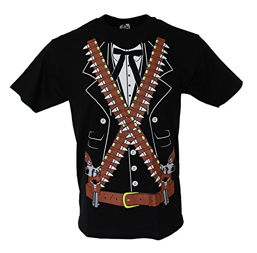 Pistolero Mexican Cowboy Men's Mariachi Halloween Costume Funny T Shirt Large Black (Cowboy And Angel Costume)